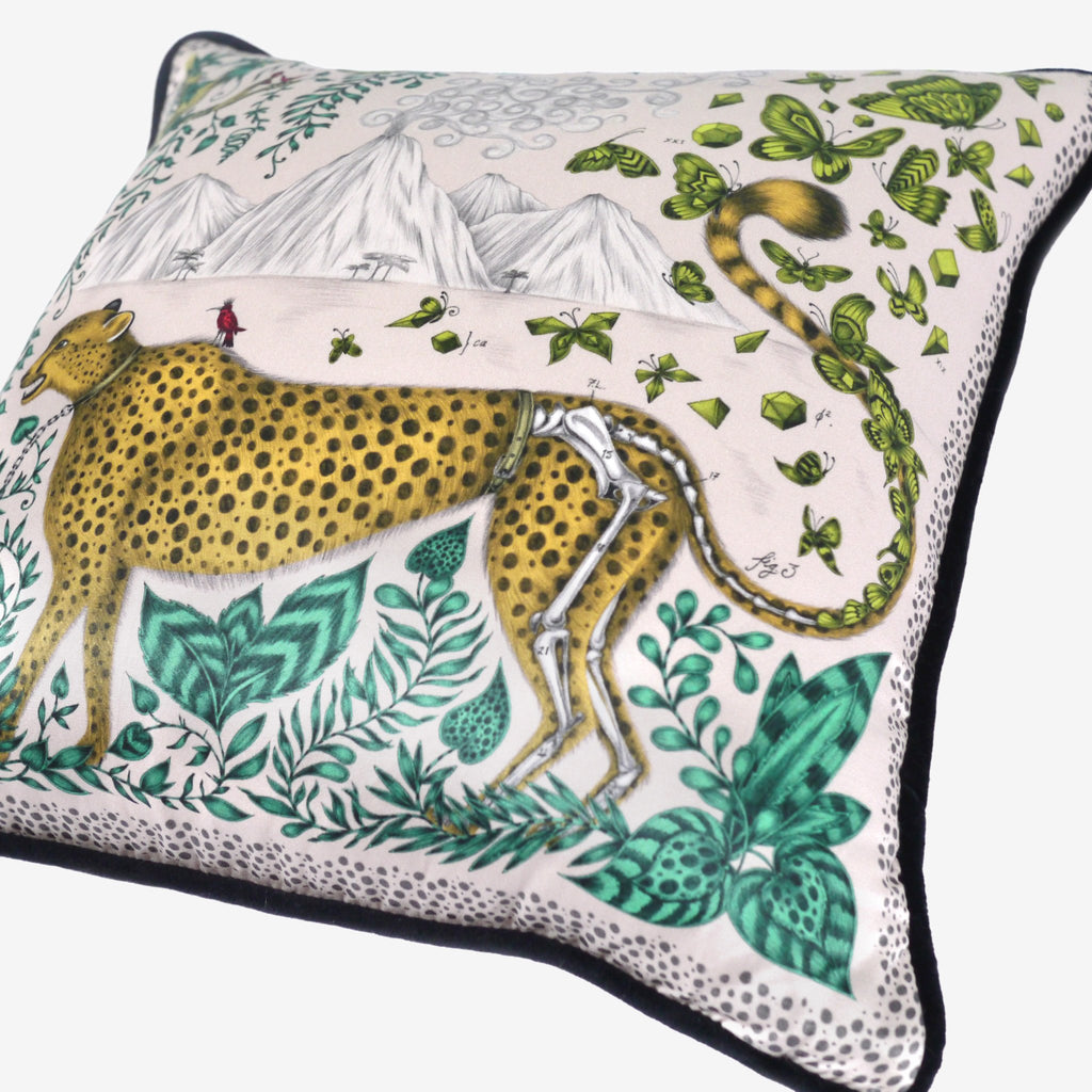 A closer look at the Cheetah Cushion by luxury designer and illustrator Emma J Shipley