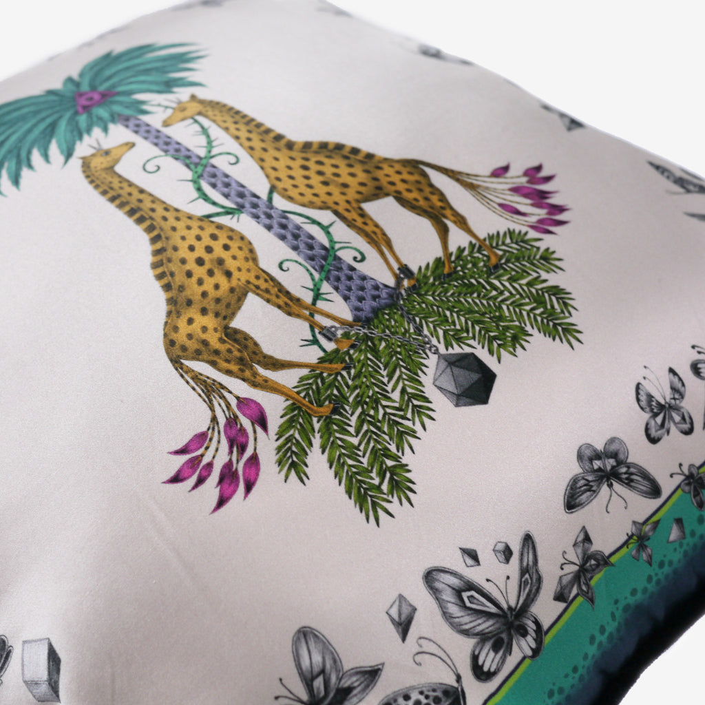 A closer look at the Giraffe cotton and silk blend cushion by luxury designer and illustrator Emma J Shipley