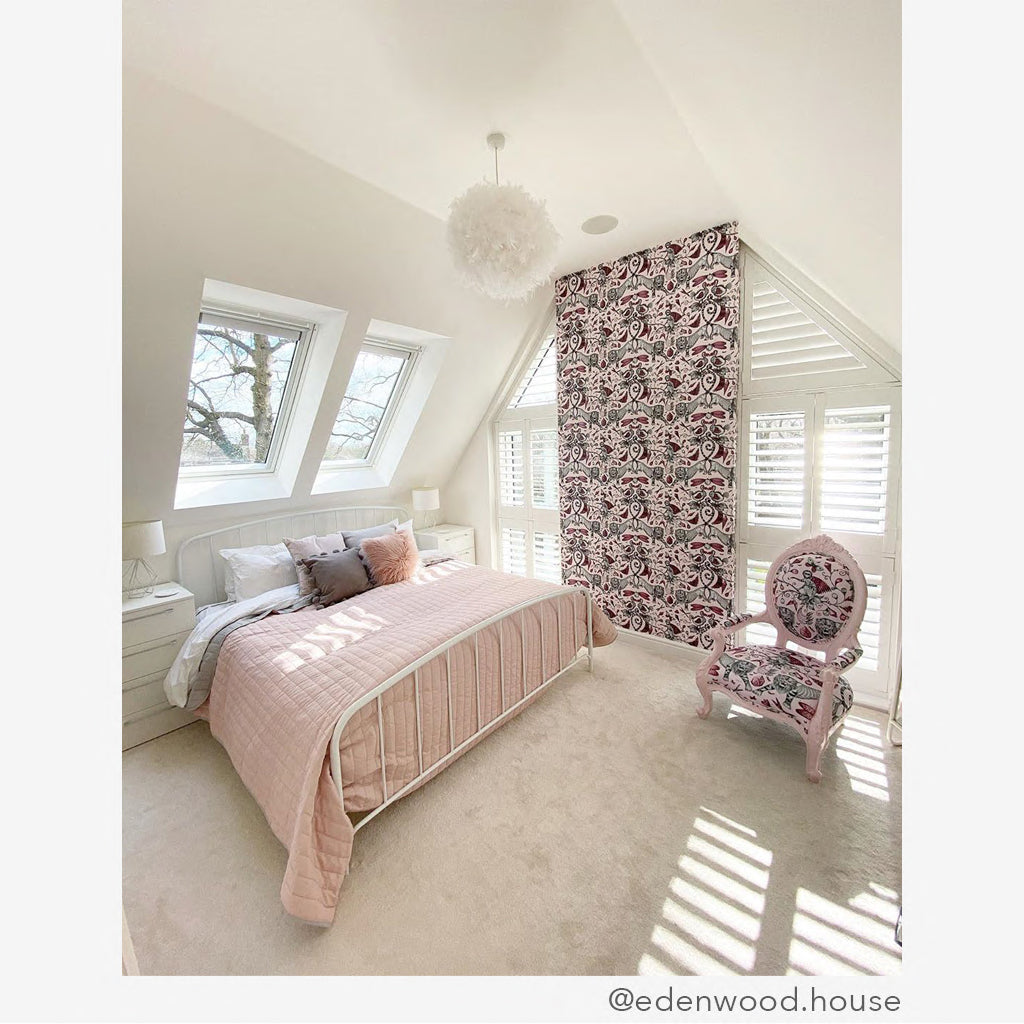The Pink Extinct Wallpaper is perfect for any room and can add a touch of colour and pattern with animal magic and fantasy