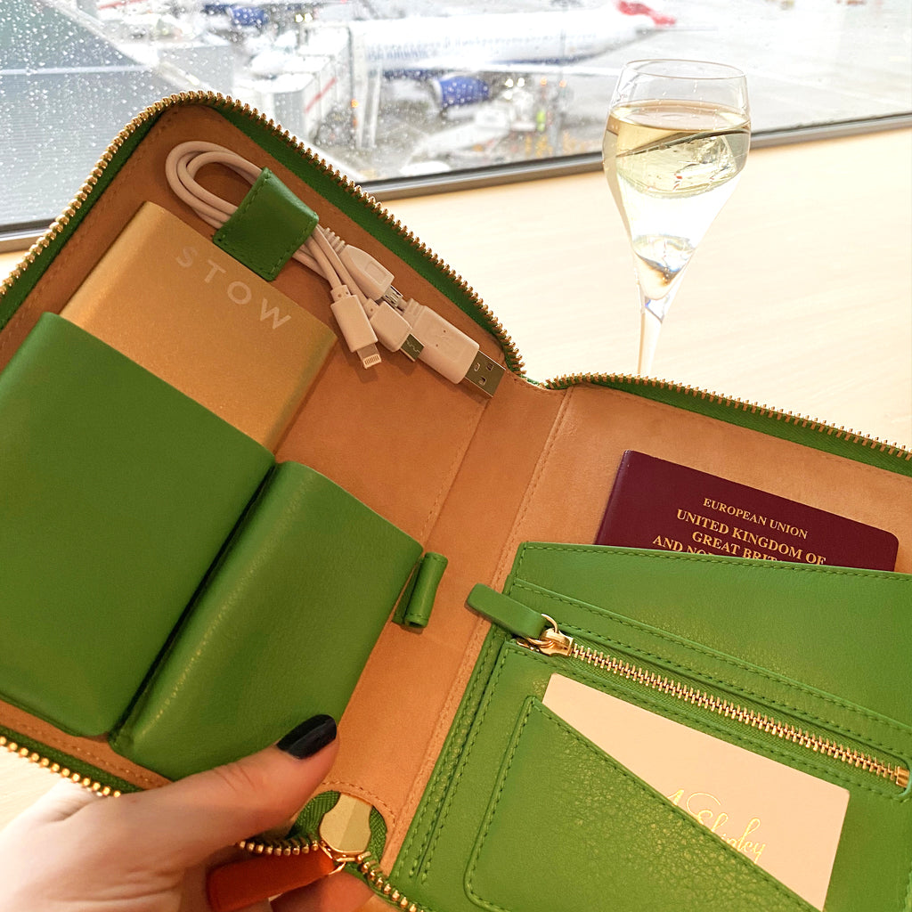 Inside view of the Emma J Shipley X STOW Tech Case, beautifully handcrafted by artisans in Spain using the highest quality leather and suede to create the luxury travel accessory