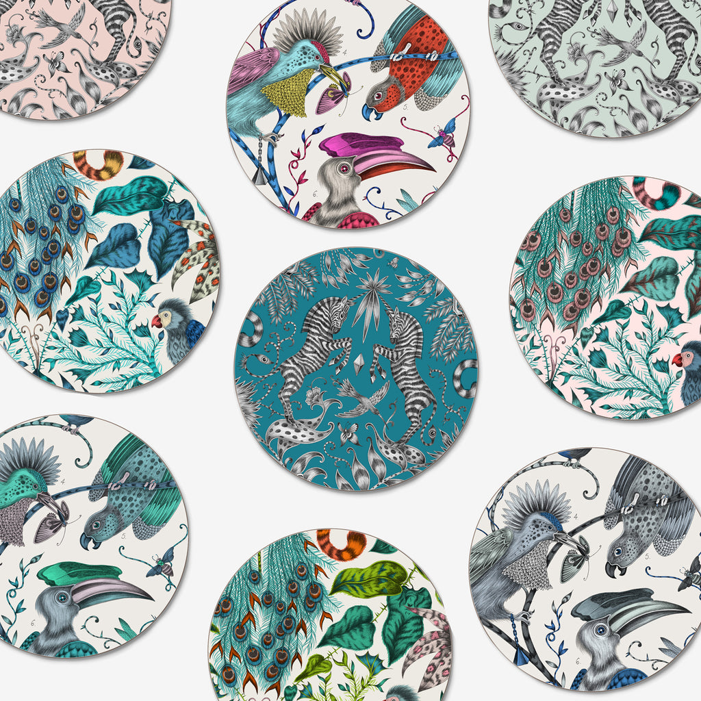 A selection of Emma J Shipley's brand new luxury coasters in collaboration with Jamida, featuring animalistic, tropical designs hand drawn by Emma in London