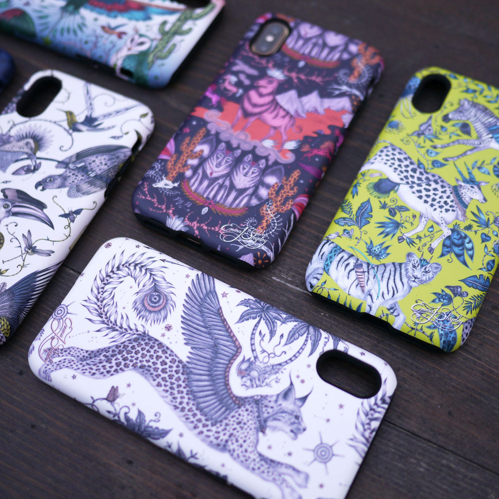 The Protea phone case showcased amongst the lynx, wild west, and audubon designs from the new collection by Emma J Shipley