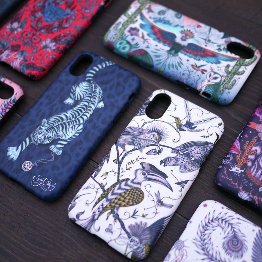The Audubon iphone case shown here with other fantastical creatures cases from the limited edition collection designed by Emma J Shipley