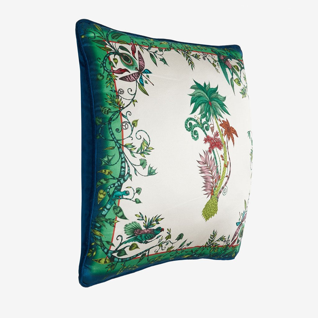 Jungle Palms silk cushion by Emma J Shipley feauturing jungle trees and twisting foliage