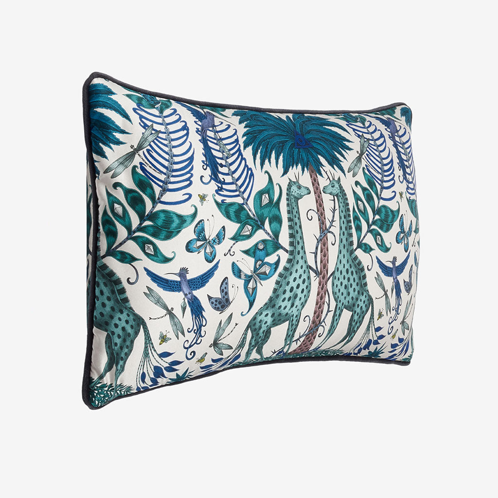 Emma J Shipley's Kruger II bolster cushion made from luxurious printed silk