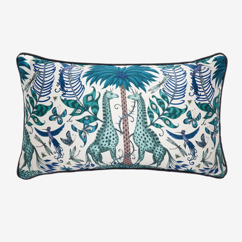 The Kruger II Bolster cushion in a tonal blue colour way design by Emma J Shipley, part of the Signature cushion collection
