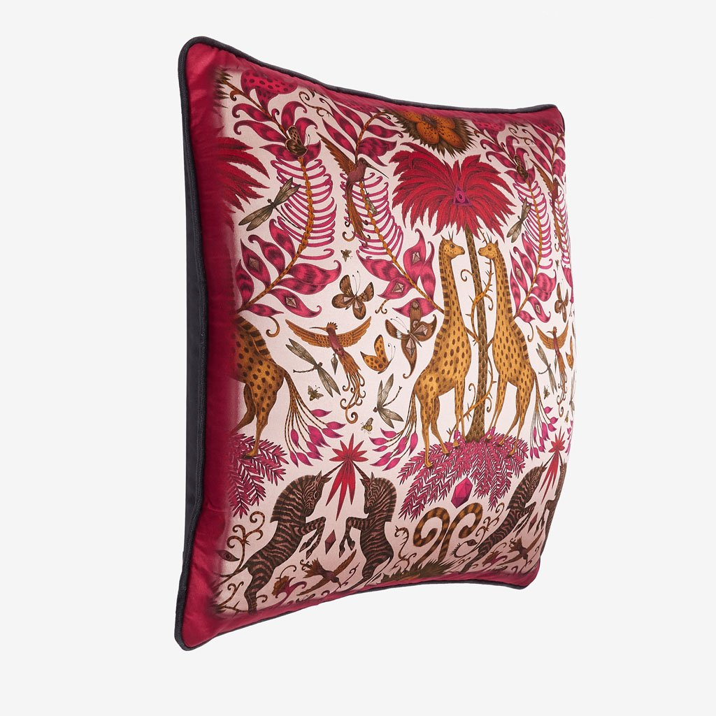 Make a bold statement with the Kruger II Cushion in vivid tones of red, magenta and orange, each enhanced by the luxurious quality of silk and cotton blend that covers both sides of the cushion, designed by Emma J Shipley