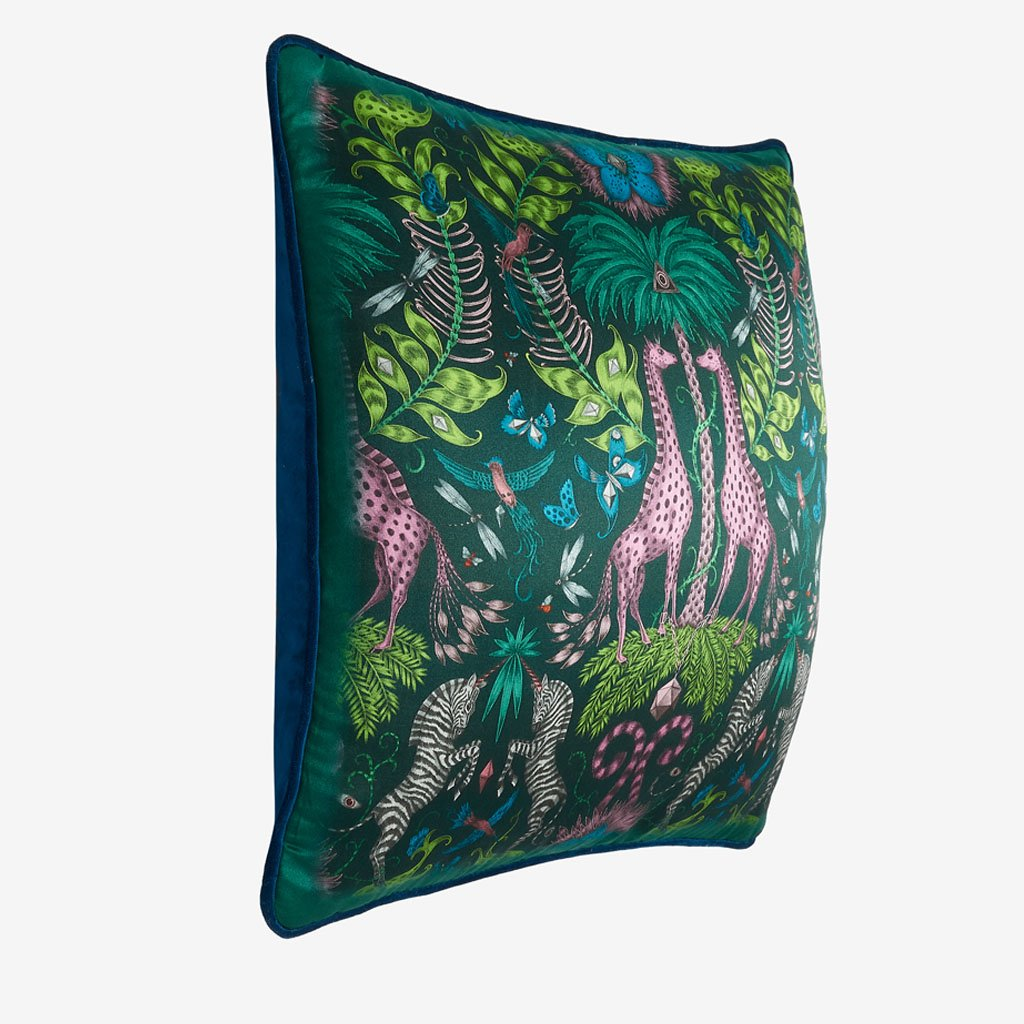 Kruger II Cushion in teal featuring unicorn zebras, giraffes under an african palm, inspired by Emma J Shipley's safari trip