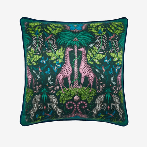 Kruger II Cushion in Teal makes a true statement in any interior setting, with its safari scene in luxurious teal colourway. Designed by Emma J Shipley