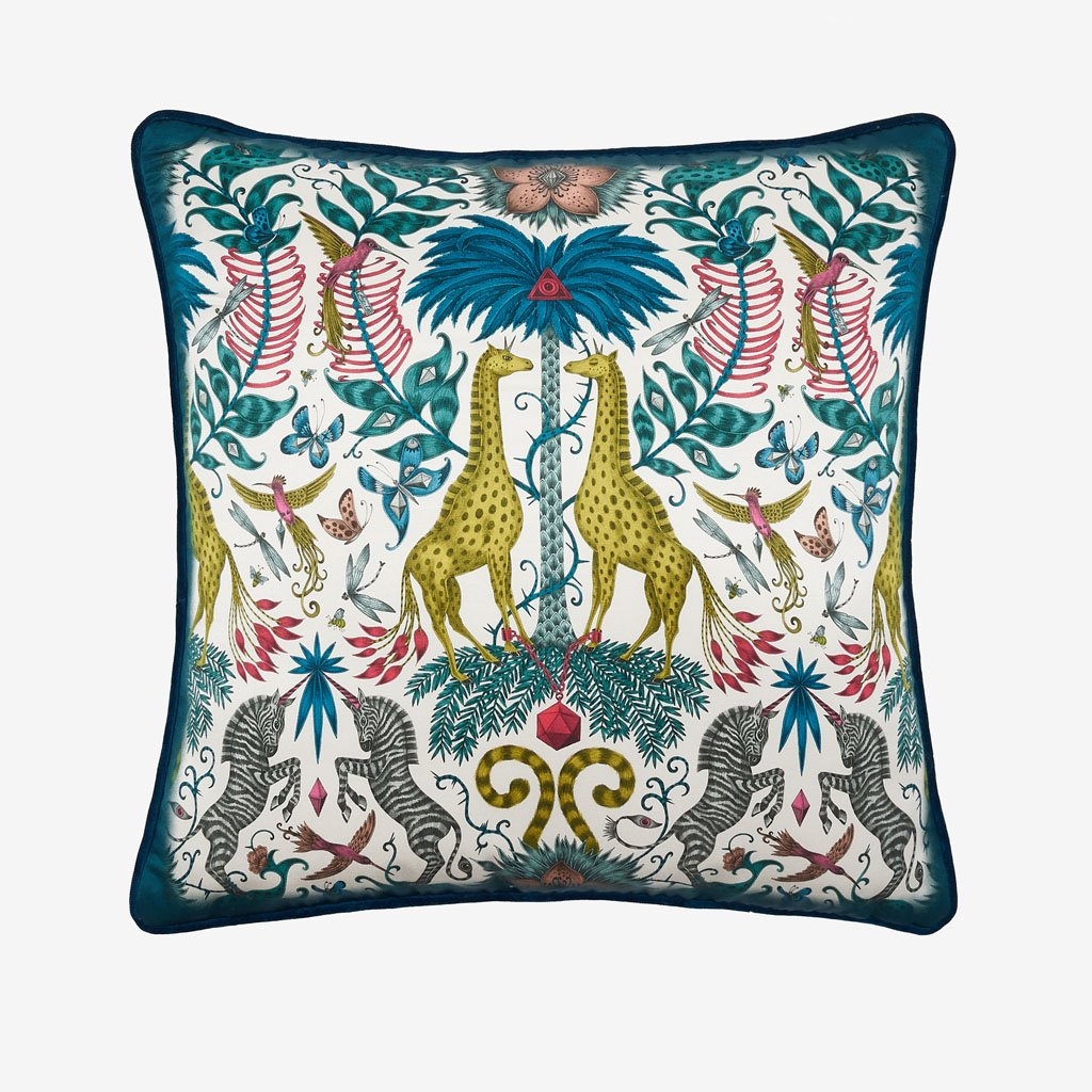The Kruger II Bolster Cushion is from the Signature Cushion collection and features a multicoloured exotic design of hand-drawn creatures by Emma J Shipley