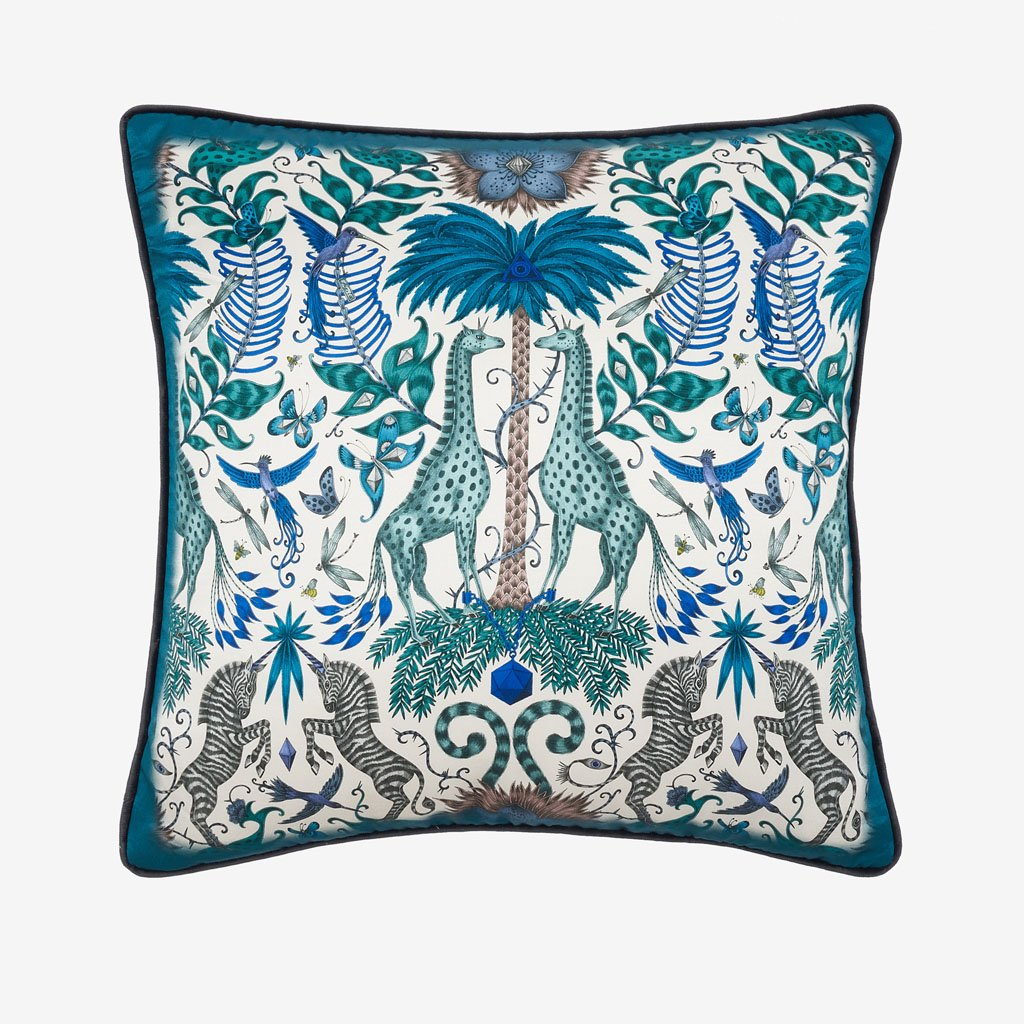 Kruger II cushion in blue from the signature cushion collection designed by Emma J Shipley