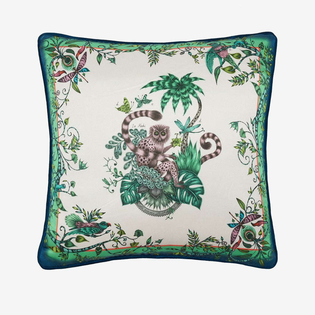 The front view of the Lemur Cushion designed by Emma J Shipley