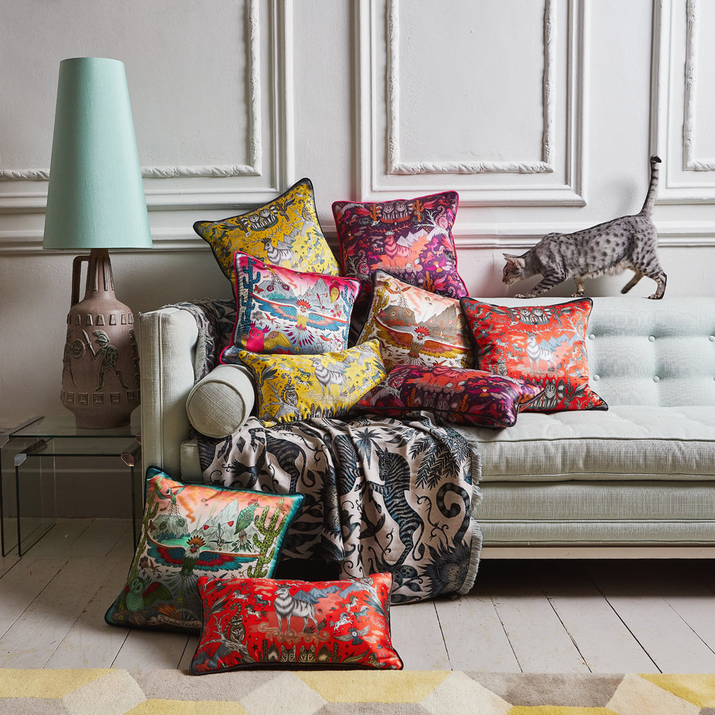A group shot of the Silk cushion collection by Emma J Shipley including the Frontier Orange Silk Cushion