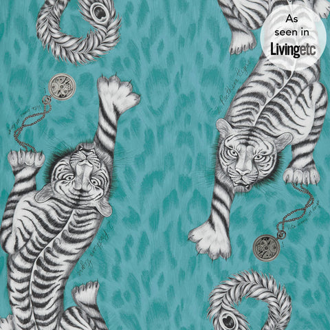 The exotic Tigirs wallpaper in teal by Emma J Shipley x Clarke & Clarke