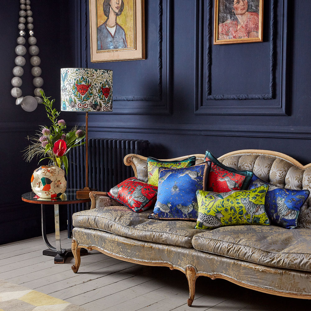 A bigger look at the Silk Protea cushion range with the Blue cushion by Emma J Shipley all together, showing how the cushions can be mixed and matched with each other as well as making a statement on their own