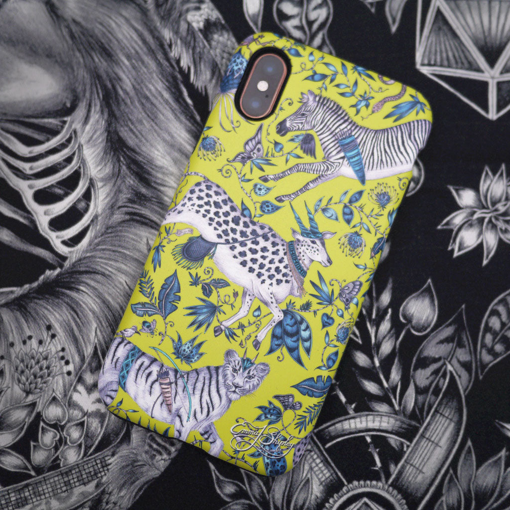 The Protea Phone Case by Emma J Shipley featuring curious creatures and twisting foliage, adding a touch of magic to the everyday