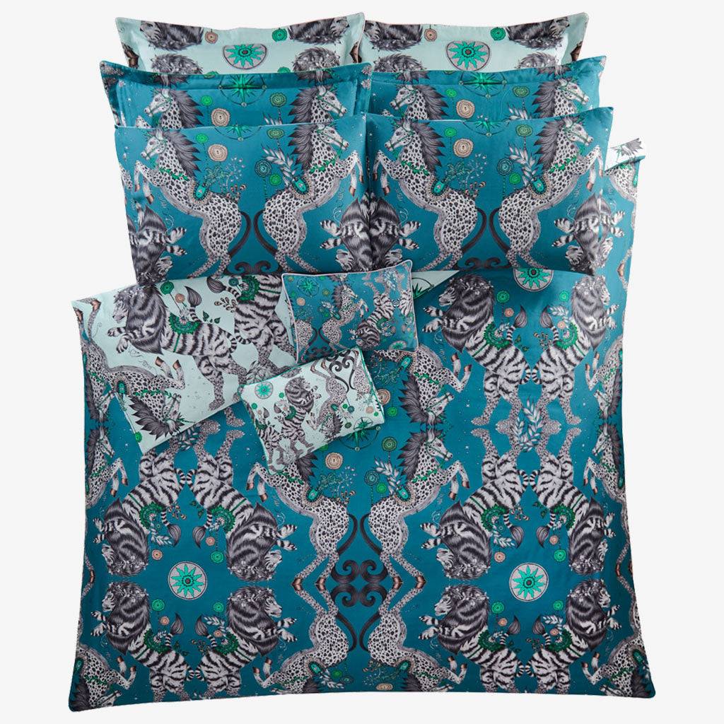 The reverse side of the Aqua Caspian duvet set, beautifully illustrated by Emma J Shipley, made in collaboration with Clarke and Clarke, this shows the deep Teal side that can also be used as the main side.