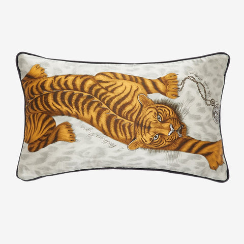 The Tigris Bolster Cushion from the signature cushion collection designed by Emma J Shipley featuring a unique Tiger with peacock tail