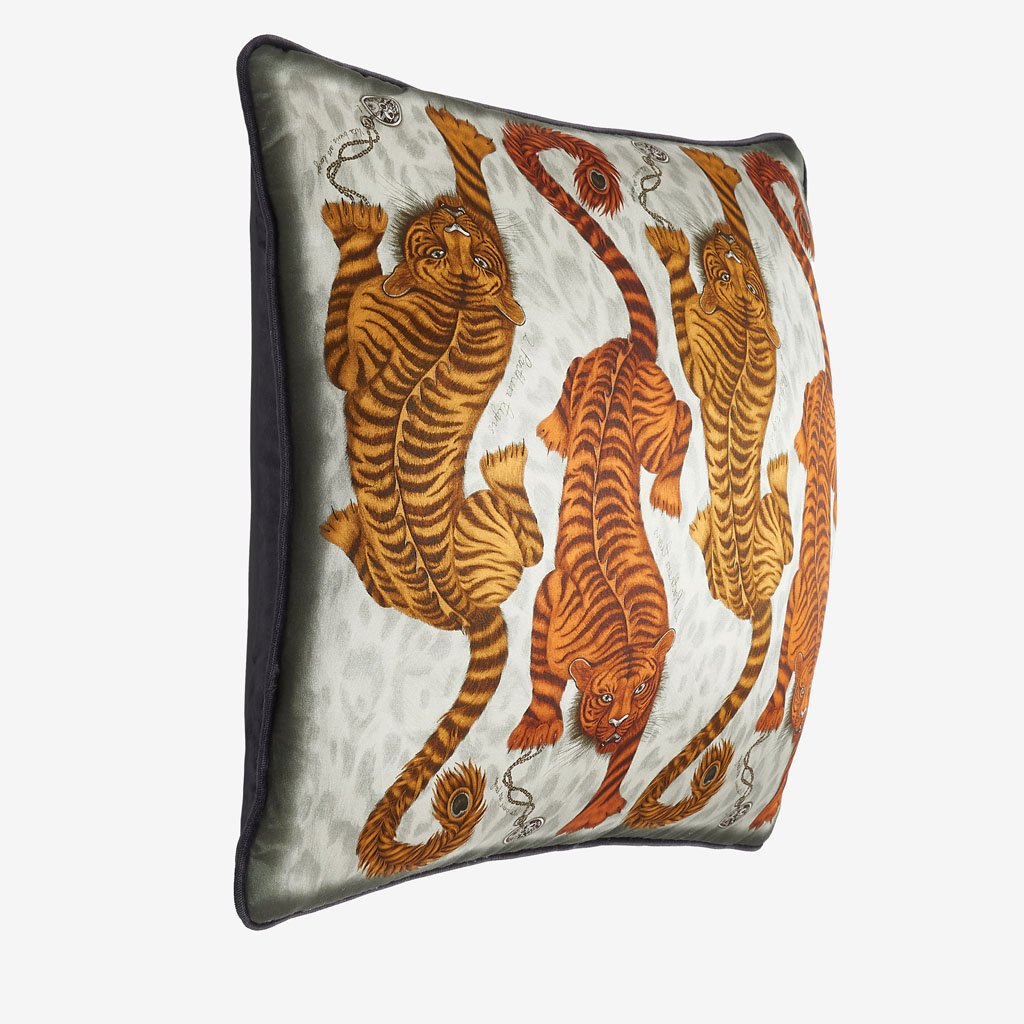 The Tigris Cushion designed by Emma J Shipley. The hand-drawn design features crawling tigers inspired by classical Greek and Roman mythology with peacock tails