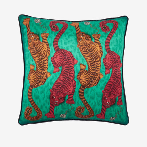 Inspired by classical Greek and Roman mythology, the Tigris cushion exhibits striking tigers, prowling eagerly across the cushion hand drawn by Emma J Shipley