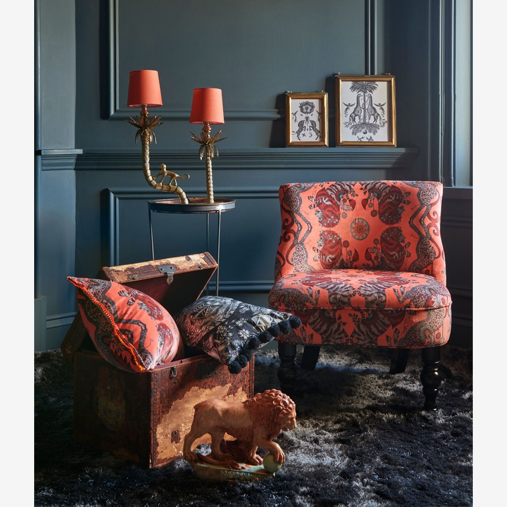 The Stunning Caspian Velvet Fabric from Emma J Shipley's Wilderie Collection made in collaboration with Clarke and Clarke, injecting exotic animals and bold colour into you home interior.