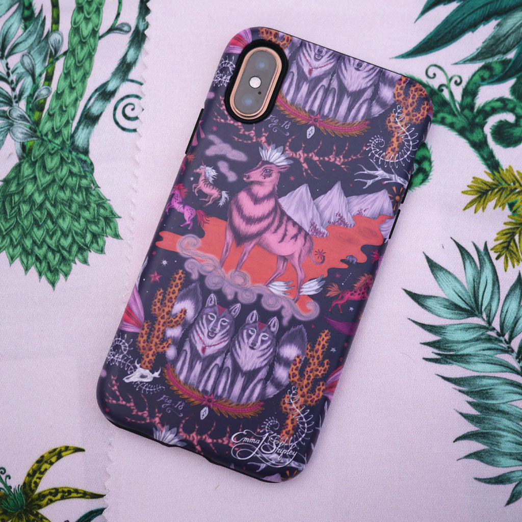 The Wild West Phone Case, featuring wildlife including a stag, mustang horses and wolves inspired by classic western films. Hand drawn by Emma J Shipley