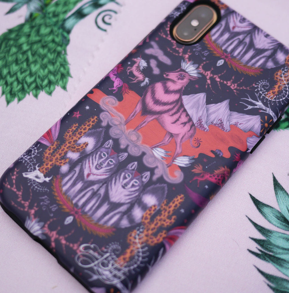 Close up on the Wild West Phone Case by Emma J Shipley, in a striking violet, pink and orange design