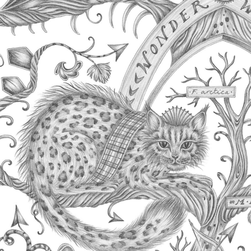 A close up of the Wonder World print designed by Emma J Shipley which is now in colouring page form for people of every age to complete and bring a little animalistic joy