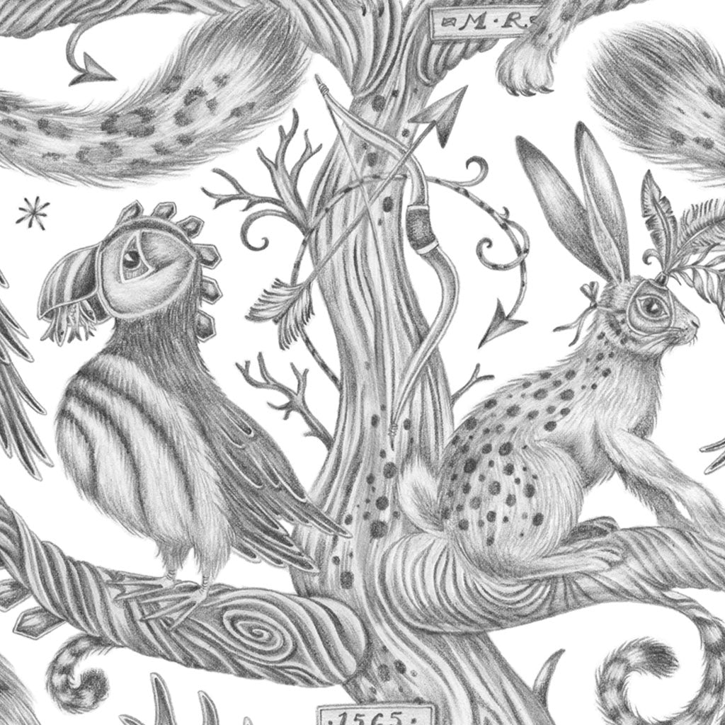 The Hare and Puffin on the Wonder World print ready to be coloured in by any colour you desire, this luxury print designed by Emma J shipley is the perfect colouring treasure