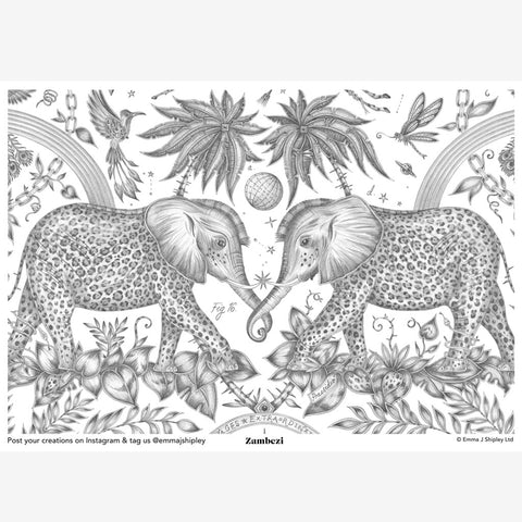 The Emma J Shipley Zambezi Print in colouring form, the perfect project to inspire, occupy and just to add a little bit of animal magic to life