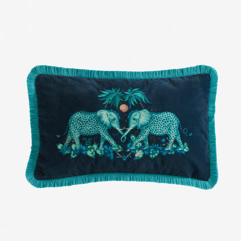 Zambezi Velvet Bolster Cushion - Teal