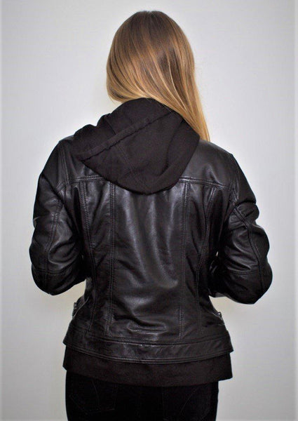 Hooded Layered Leather Jacket