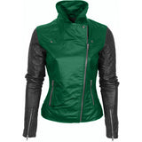 Green Faux Leather Moto Jacket