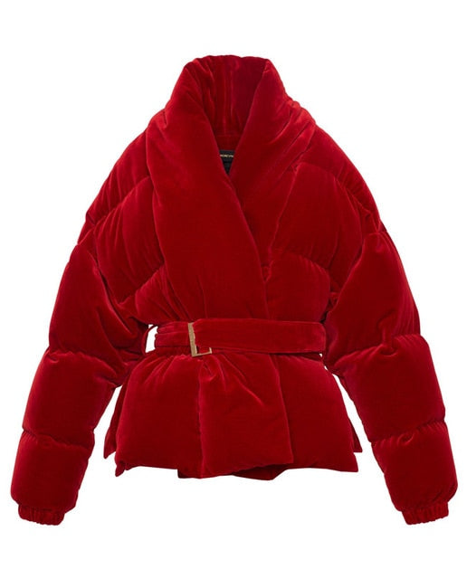 Cotton Padded Red Belted Coat