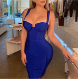 Strapped Plunge Bandage Dress