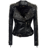 Faux Leather Rivet Jacket