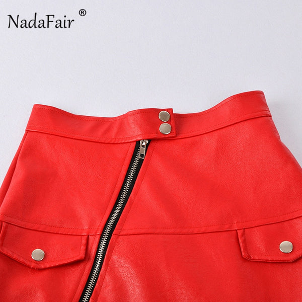 Red Faux Leather Zipper Slitted Skirt