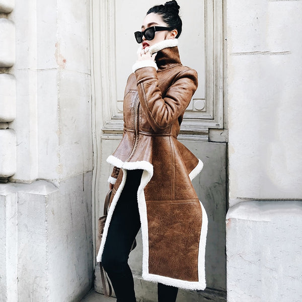 Irregular Length Fleeced Coat