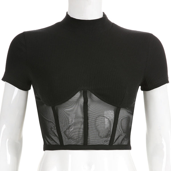 Black Hollowed Mesh Shirt