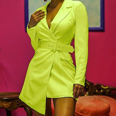 Irregular Length Blazer Dress