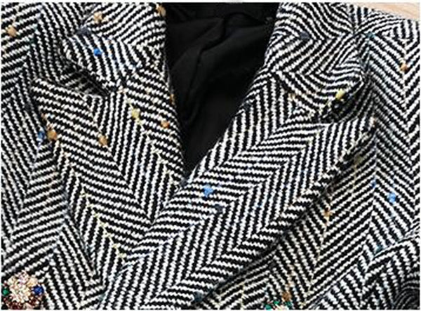 Wool Double Breasted Chevron Jacket