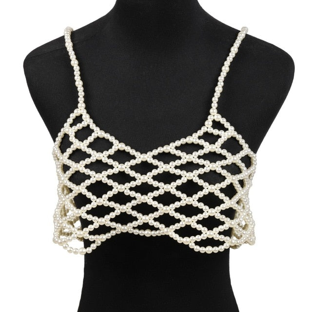 Simulated Pearl Body Chain