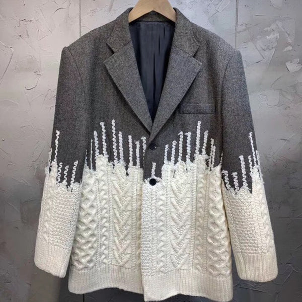 Patch Knitted Suit Jacket