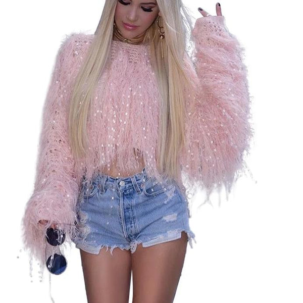 Tassel Crop Sweater