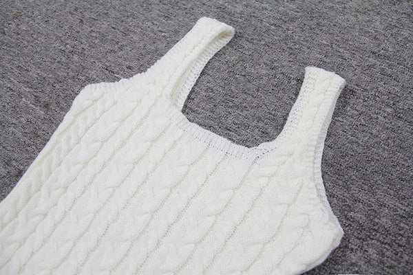 White Bodycon Knitted Dress
