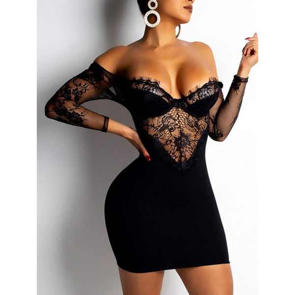 Lace Patchwork Bodycon Dress