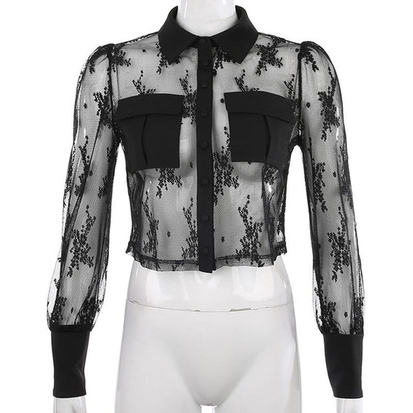 Transparent Mesh Embroidered Shirt