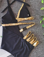 Black And Gold One Piece Swimsuit