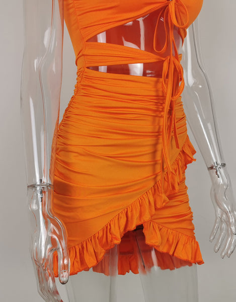 Orange High Cut Hollowed Out Dress