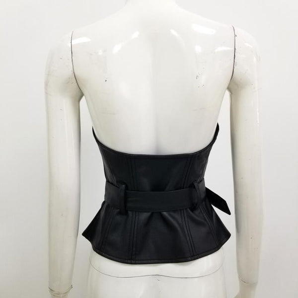 Strapless Pleather Belted Top